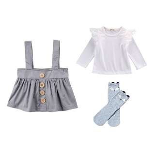 NEW  NWT Grey size 2-3 girls outfit skirt lace long sleeve top & long socks