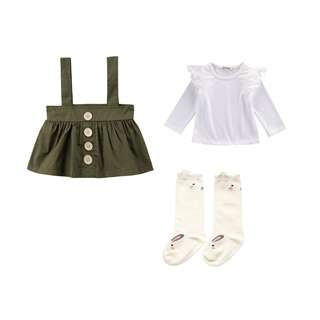 NWT Sage Green size 2-3 girls outfit skirt lace long sleeve top & long socks