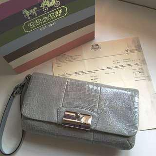 Authentic Coach Large Leather Wristlet