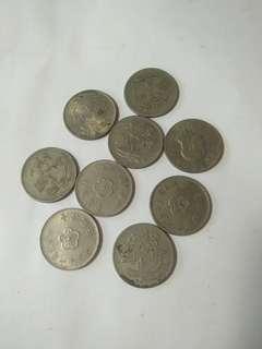 🚚 台灣錢幣一元,壹圓  共9個