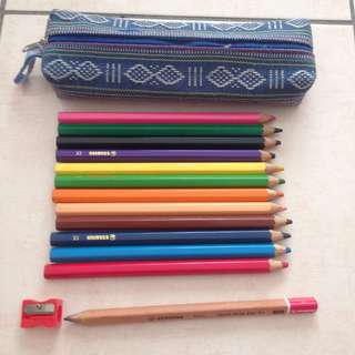 Colour pencils and A pencil case  #KayaRaya