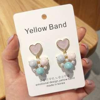 💌-皮革 愛心 糖果色 珍珠 可愛 耳環  🍬韓國製🍬