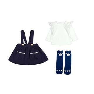 NWT Navy Blue size 2-3 girls outfit skirt lace long sleeve top & long socks