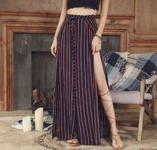 Bohemian summer maxi skirt with slit