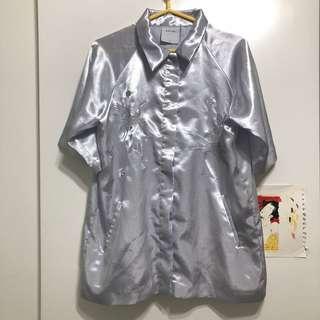 BLANC LABEL台灣設計師品牌-緞面仙鶴刺繡襯衫