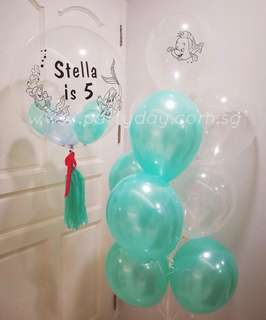Mermaid Theme Set Customise Crystal Clear 24in Balloon with Stuffed Mini Round Balloon