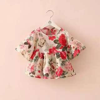 Kids Child Girl Flowery Summer Top Cloth
