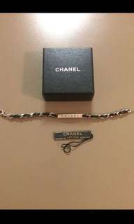 Chanel Authentic Silver & Leather Bracelet