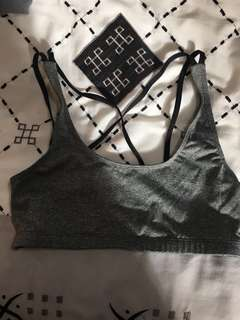 BOOHOO ACTIVE FITNESS GREY CROP TOP WITH STRAPPY BACK SIZE 8 NEW