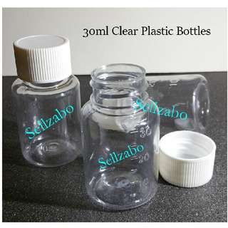 30ml : Bottles : Containers : Cases : Casings : Face : Facial : Beauty : Makeup : Cosmetics : Skincare : Skin Care : Travel Use : Portable : Transfer : Transferring : Refill : Refilling : Plastic : Clear : See Through : Round : 30g : Sellzabo