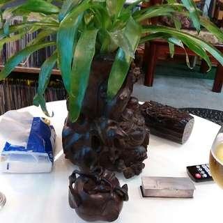 古董木製花瓶