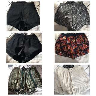 GREAT CONDITION MINI SHORTS ALL MID TO HIGH WAISTED XS BRANDS LIKE BASE RANGE ZARA SHAKUHACHI