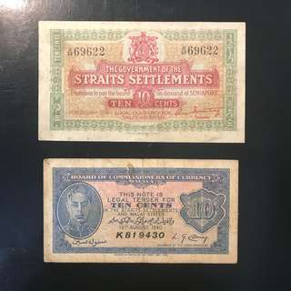 紧急发行 10 Cents Emergency 🚨 Issue! 1919 Straits Settlements 10 Cents A/58 69622 EF/AU Condition Green Dragon 🐲 青龙 & 1940 Malaya 10 Cents K 819430 VF Condition, Both In Original Paper 📝 Condition.