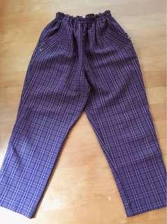 🚚 vintage古著/復古紫色格紋寬褲