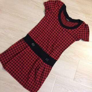 日本製紅黑格仔復古連身裙