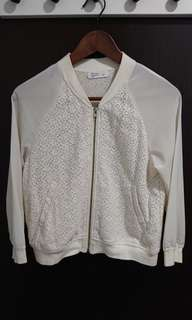 White floral lace Cardigan/ bomber jacket