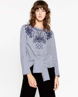 Repriced! ZARA STRIPED EMBROIDERED FRONT TIE POPLIN TOP