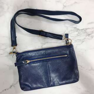 Real leather Navy Crossbody bag