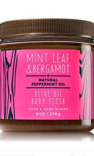 Bath and Body Works Body Scrub Mint Leaf and Begarmot
