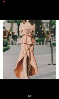 Formal Offshoulder Gown Dress Peplum Ruffle Skirt (Ships in 5-7days)