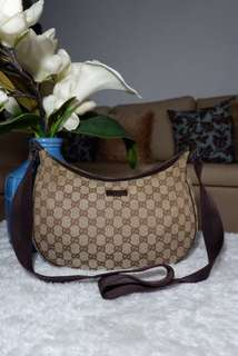 Authentic Gucci Monogram canvas Brown Crossbody Bag