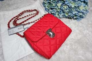 Authentic Prada Tessuto Impuntu BP0623 Rosso