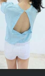 backless tshirt babyblue