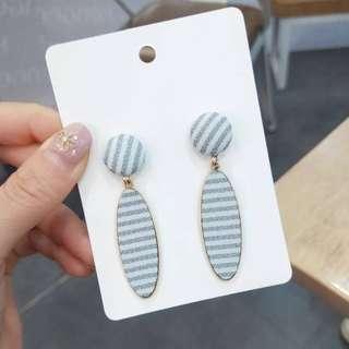 💌-條紋 馬卡龍 清新 粉嫩 耳環  🍬韓國製🍬