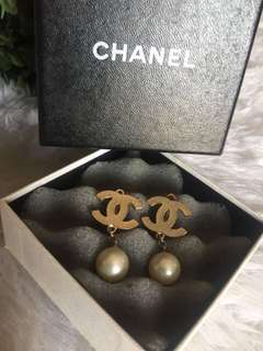 Authentic Chanel Pearl drop Push back Earrings/ Silver CC logo