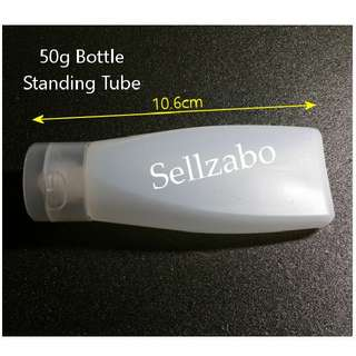 50g : Standing Bottles : Tubes : Containers : Cases : Casings : Travel Use : Travelling : Portable : Transfer : Transferring : Refill : Refilling : White Colour : 50ml : Sellzabo