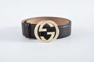 Gucci Brown Guccisima Interlocking G Belt