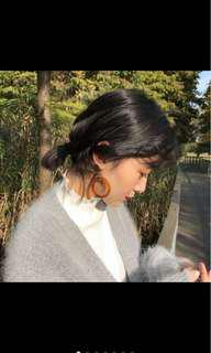 琥珀幾何圓圈夾式耳環