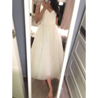 Korean Satin Strappy Strap Midi Tulle Wedding Gown with Plunged Neck and Back