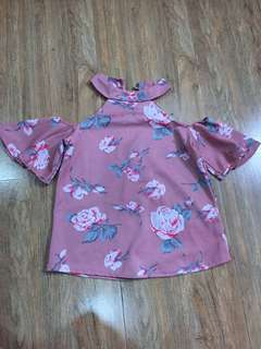 Off Shoulder Flowery Blouse or Top