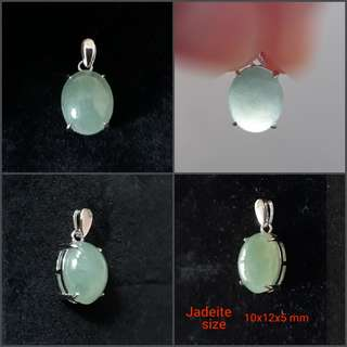 Jadeite Pendant(翡翠吊坠). Set in 925 silver plated white gold bail. Direct from Myanma.
