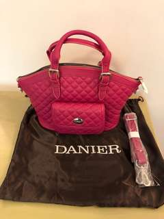 加拿大品牌Danier桃紅色皮手袋genuine leather handbag