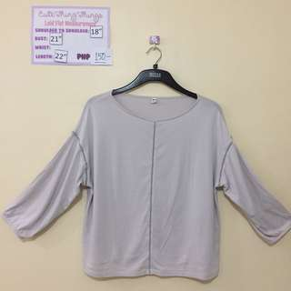 Uniqlo Gray 3/4 Sleeved Top with Peep holes