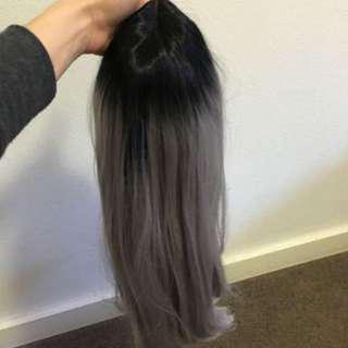 Ombré Black To Grey Synthetic Hair Wig Extension