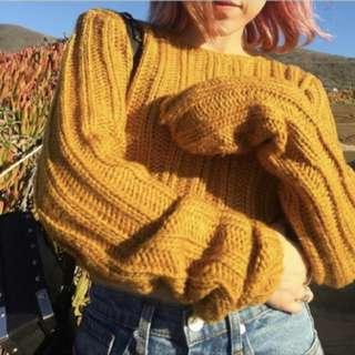 Unif 同款 卡其 短版針織毛衣