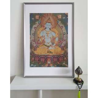 Large Framed Vajrasattva Brocade Fabric Thangka