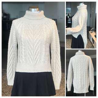 Cream/oatmeal Size 6-8 Turtle Neck Knitted Sweater Jumper Pullover