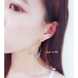 🚚 Sugar & Bee 針式 夾式 繽紛夏日 彩色方塊耳環 - 粉藍