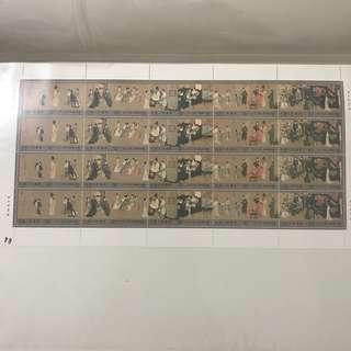 T158 China 1990 Night Revels Of Han Xizai Whole Sheet Of 20, 五代 。南唐 韩熙载夜宴图