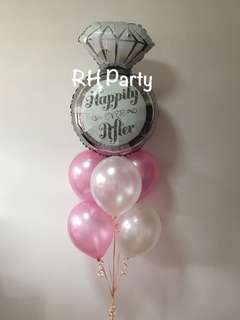 (18/6) Include helium Diamond Ring Happily Ever after Foil Balloon Latex bouquet  ( wedding , rom , engagement )