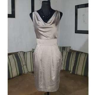 SALE Silk Cowl Neck Dress
