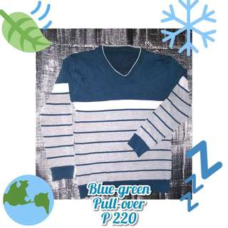 BLUE GREEN PULL OVER SHIRT