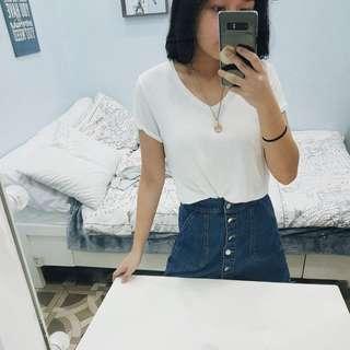 (BUNDLE) Uniqlo & Terranova Blue-White V-neck Shirts Set