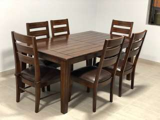 NEAR NEW Walnut Dining Set - 6 Seater Extending to 8 Seater Table with Brown Leather Slatted Chairs