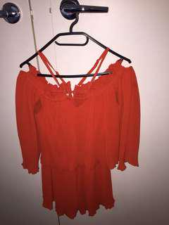 RED PLAYSUIT LUXURY QUALITY