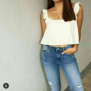 Ruffled loose  crop top